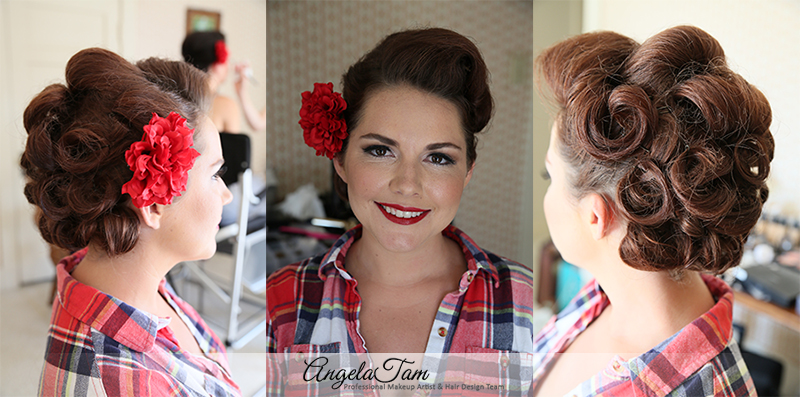 orange county vintage pinup girl makeup look and victory rolls hair style angela tam. Black Bedroom Furniture Sets. Home Design Ideas