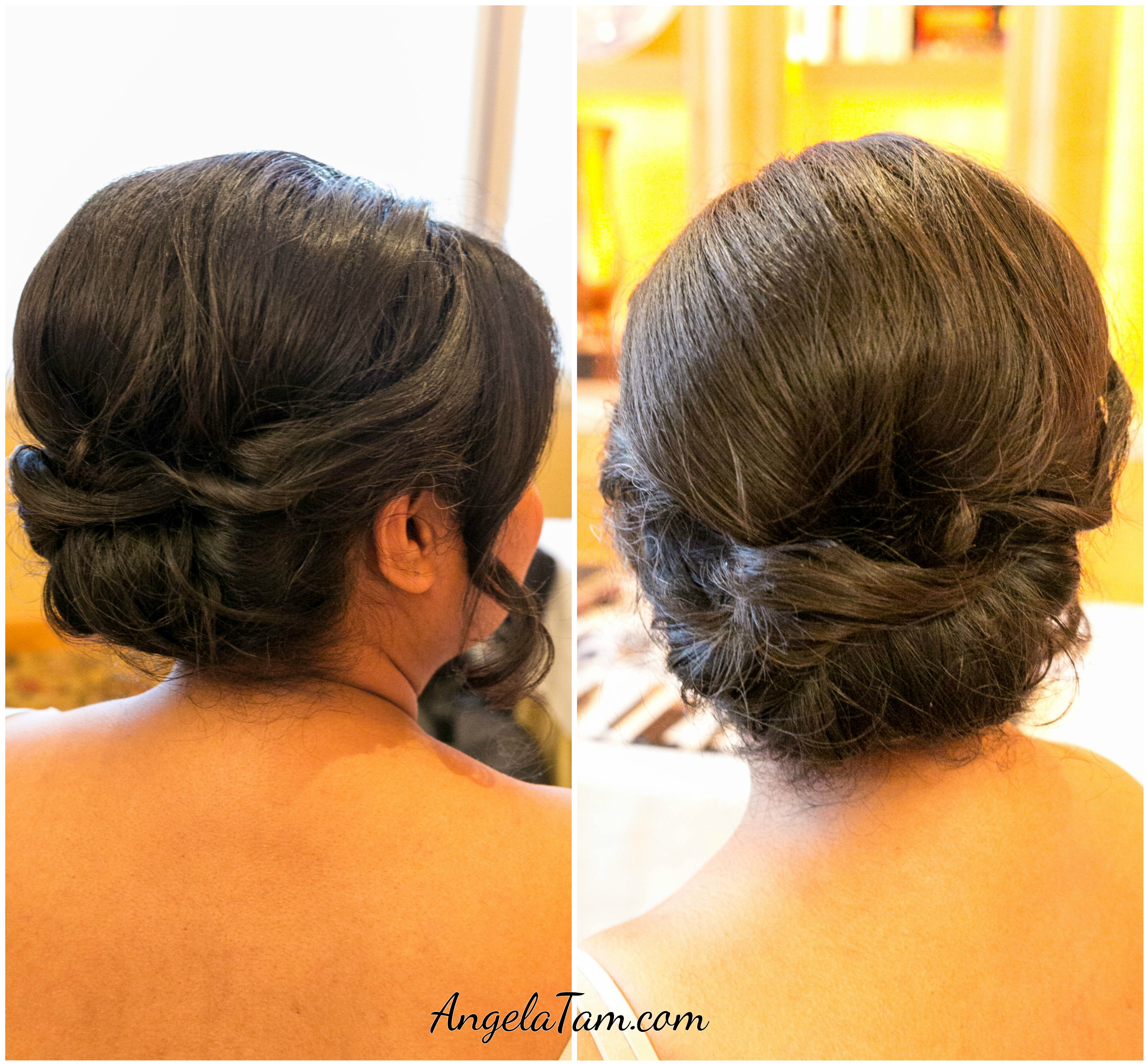 Indian Loose Hair Wedding Hairstyles: Bridal Loose Bun Updo Hair Style >> Angela Tam Makeup Hair